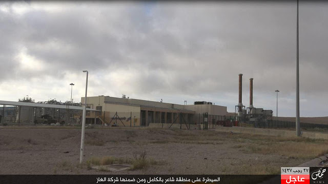 A picture from Islamic State media of an oil and gas facility in the vicinity of Shaer.