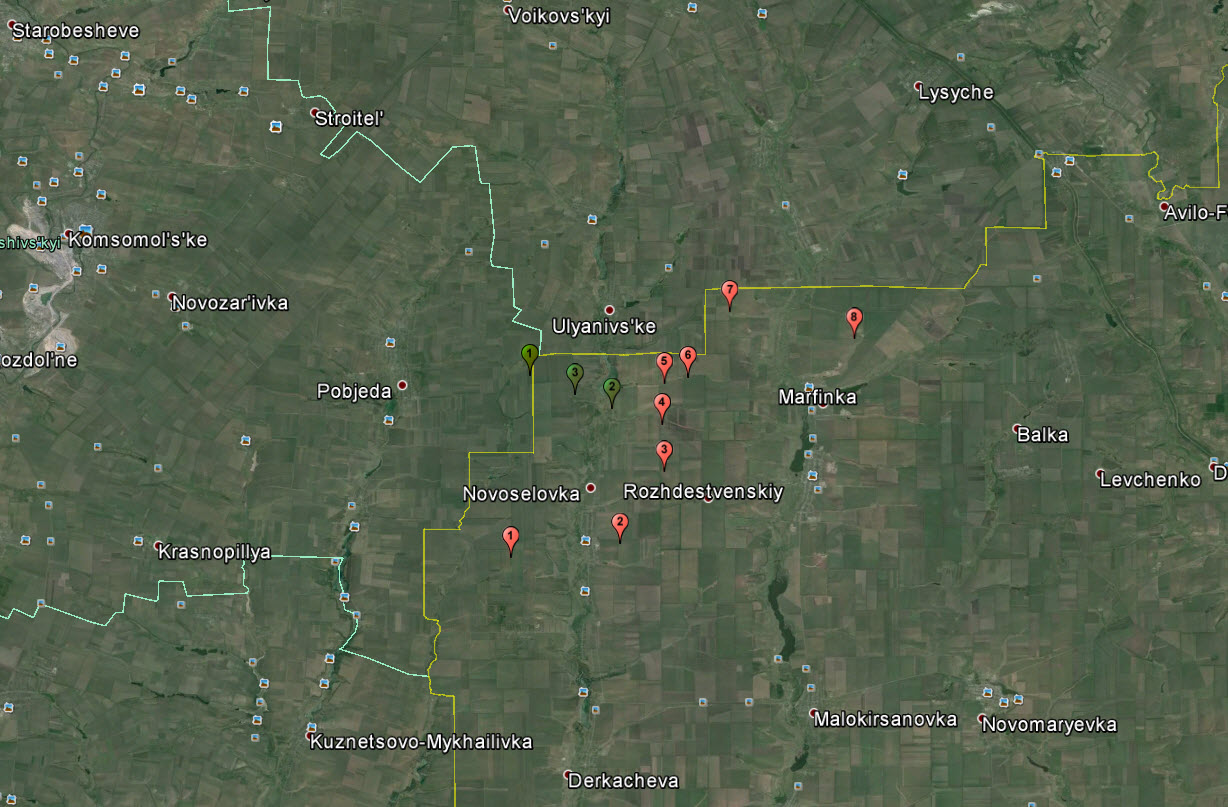 Artillery firing sites in red, and sites described in border crossings section of this post in green.