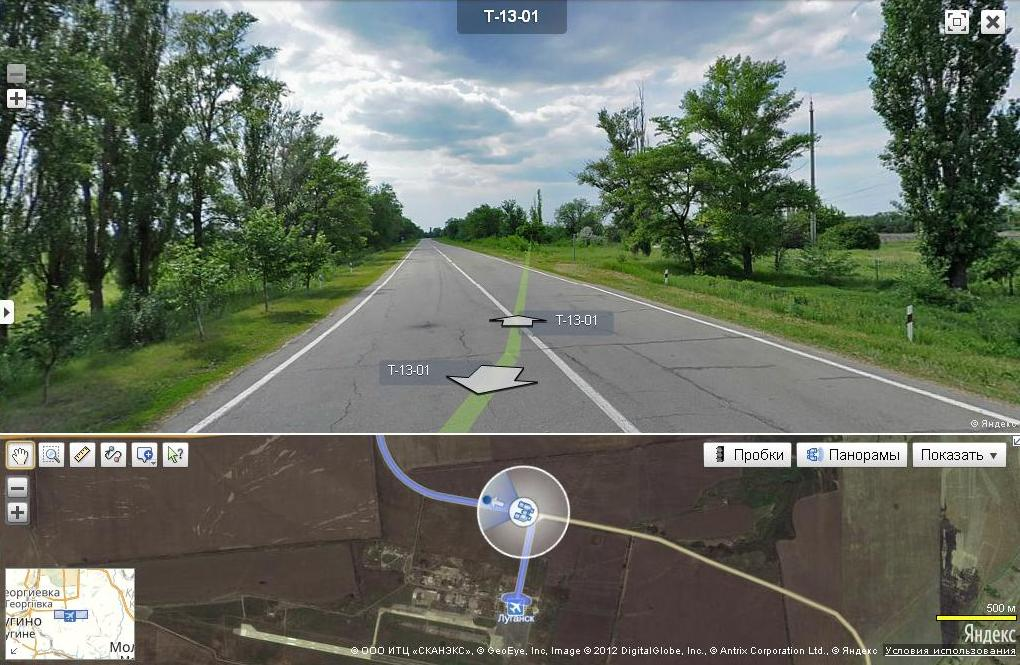 Yandex Panoramas view of the road on which the T-72B3 tank was photographed