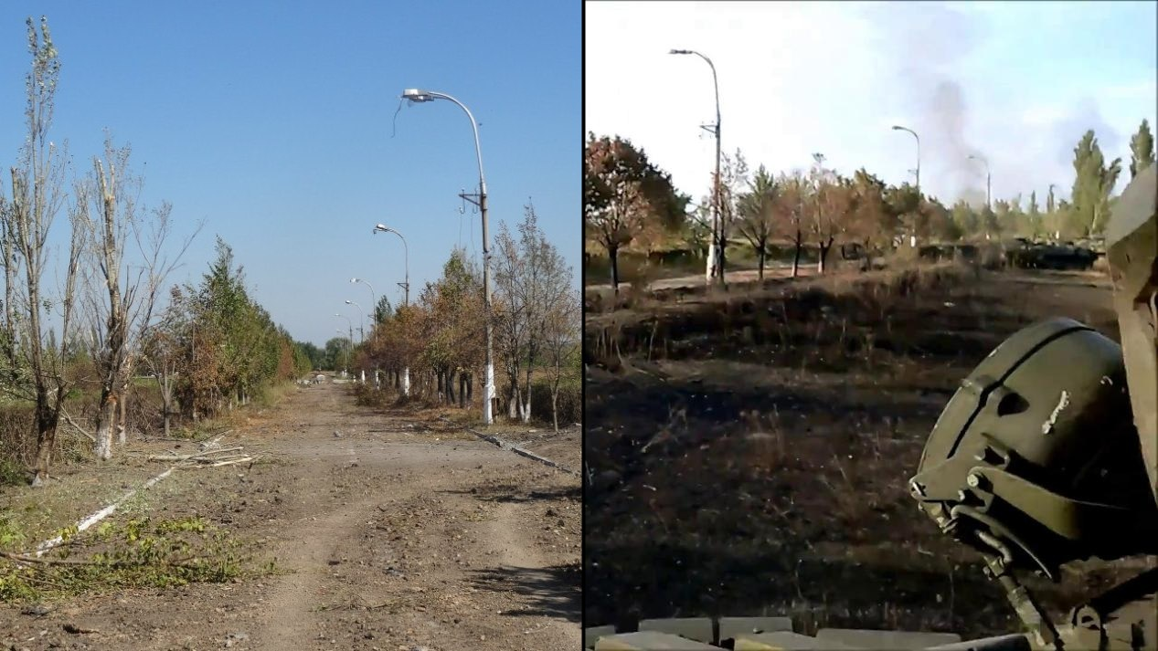 Comparison of scenes showing a road that leads to the Luhansk Airport