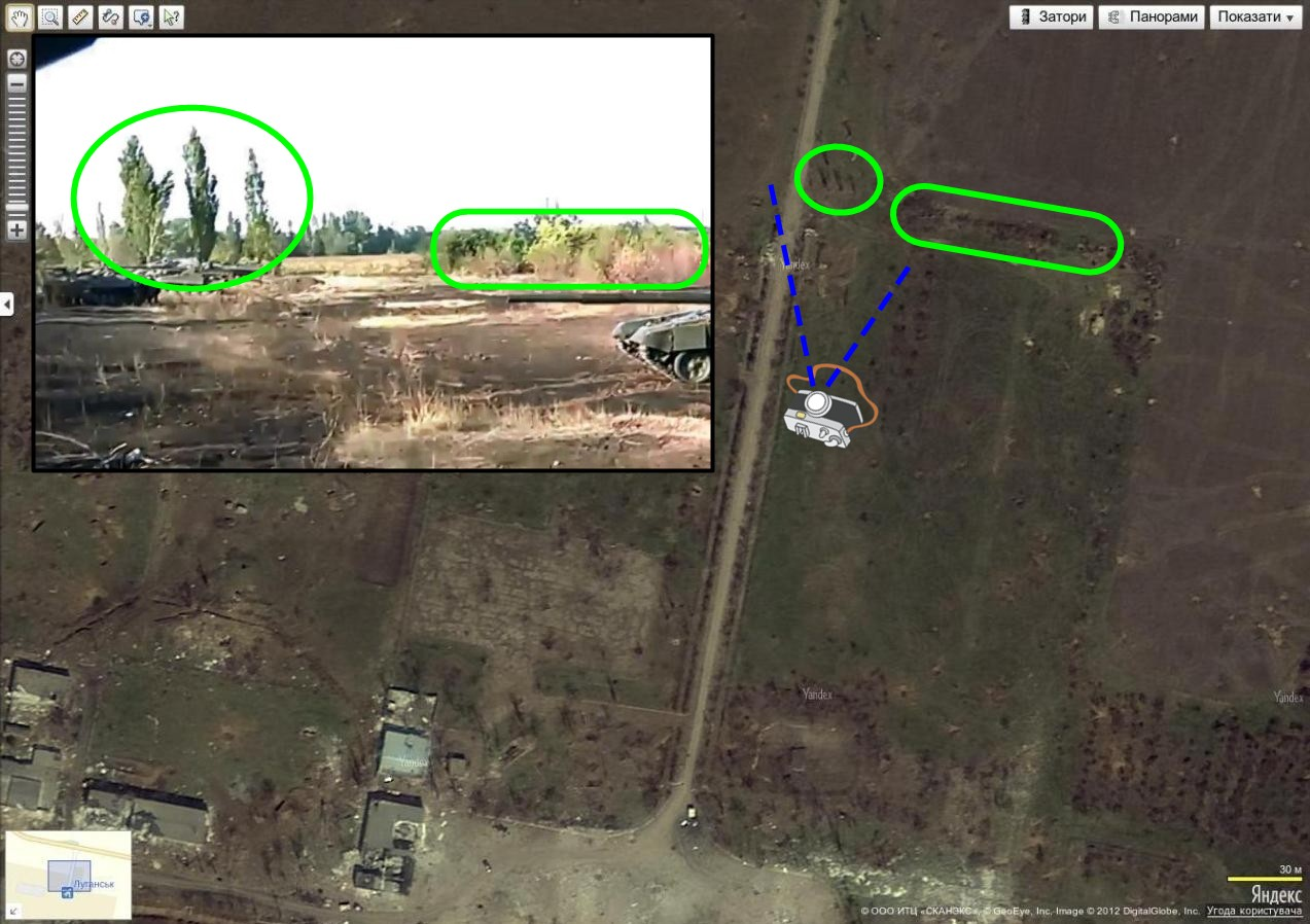 Comparison of a video showing the 200th Brigade near Luhansk, and Yandex Maps, with a row of three trees as a reference point.