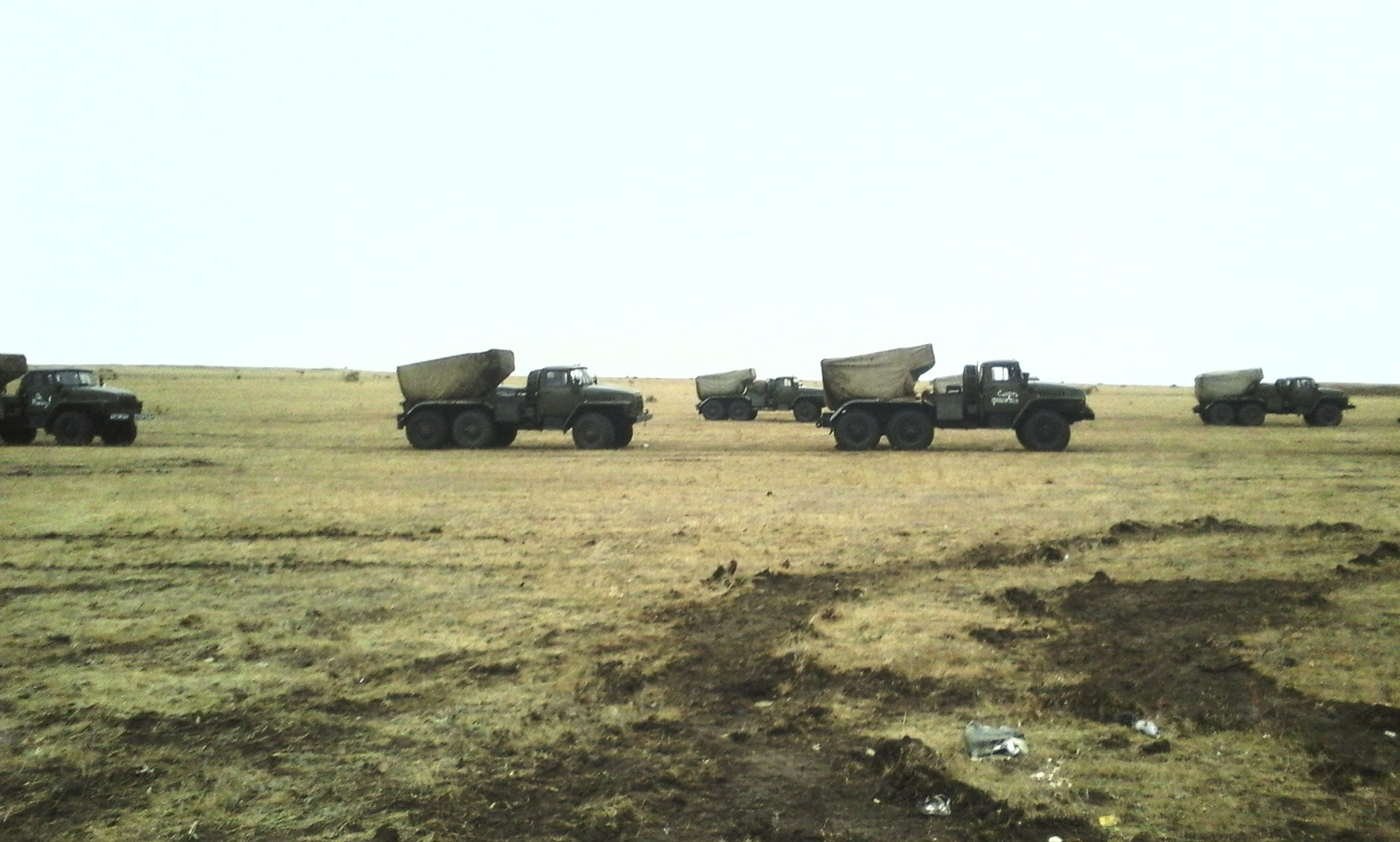 """Two different MLRS BM-21 Grads with identical """"Death to fascists"""" phrases on the right side. The photographs are from the aforementioned Nikolai Dugaev."""