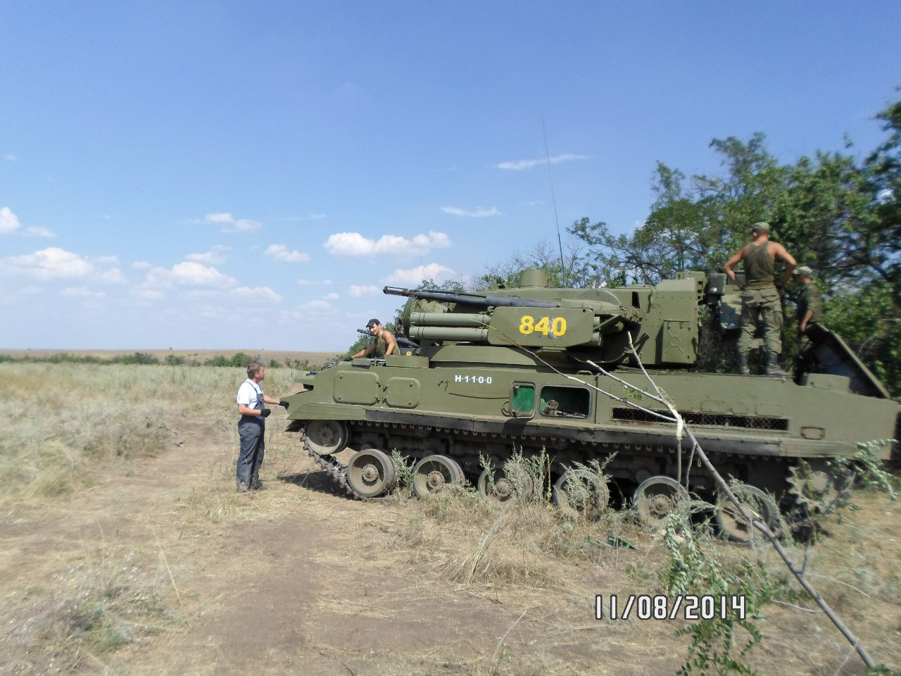 2S6 Tungska self-propelled anti-aircraft system, numbered 840. Archive / Original