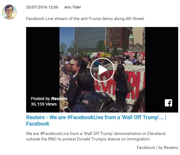 Liveblog post about Reuters' coverage of an anti-Trump march with Facebook Live.