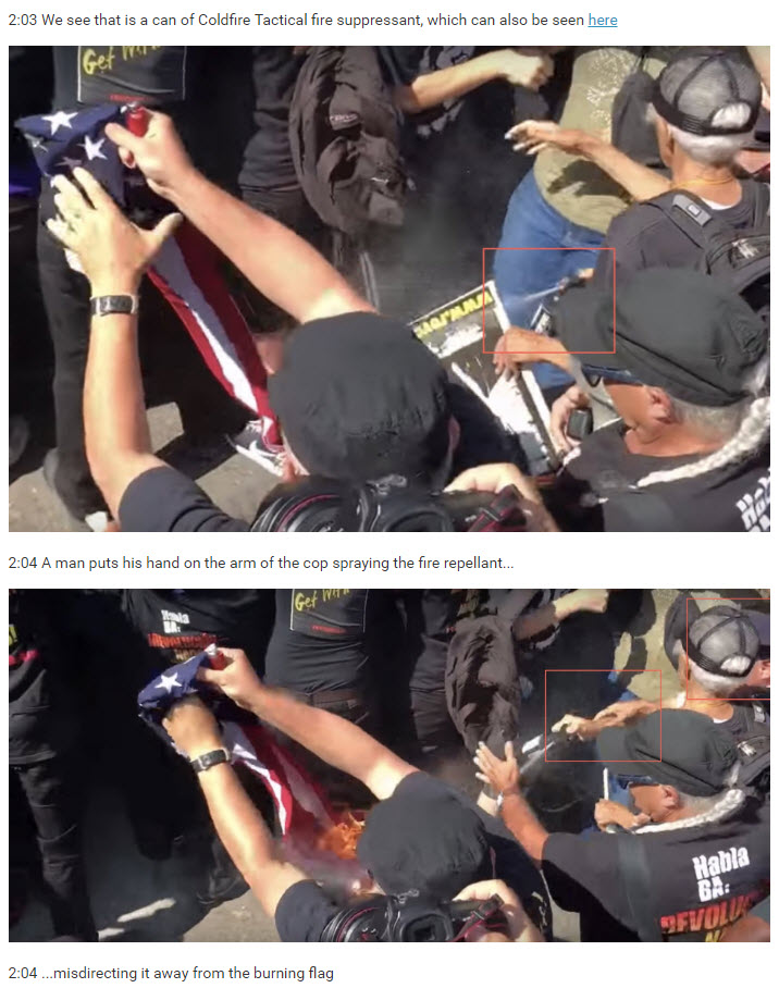 Screenshot from our live blog in which Nathan reconstructs how a police officer attempted to spray the burning flag with fire suppressant.