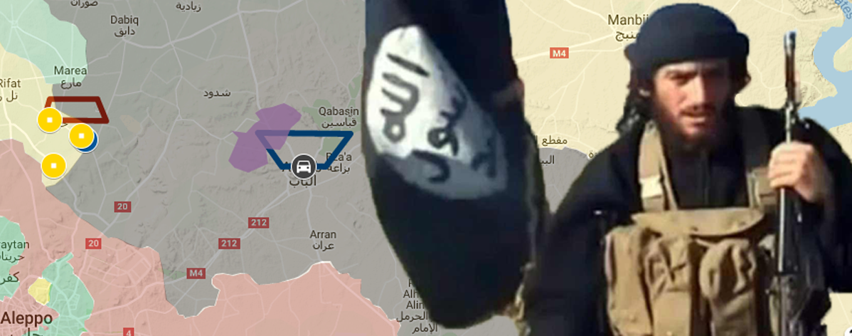 Abu Muhammad al-Adnani, chief spokesperson for the so-called Islamic State, allegedly in Syria in a video published by so-called Islamic State. The background is from the accompanying Google MyMaps with the article.