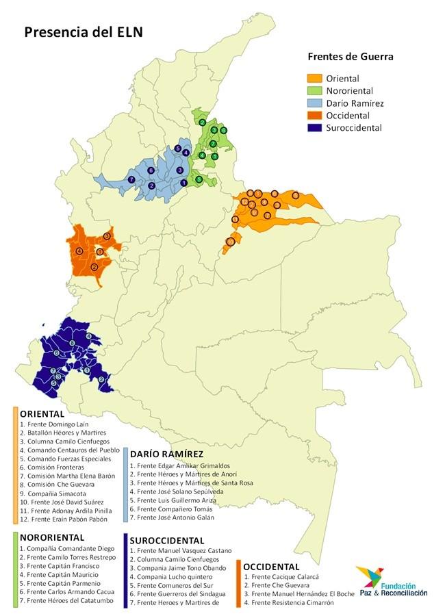 Territories held by the ELN's different fronts. Source: Fundación Paz & Reconciliación