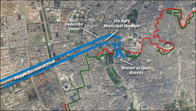 Figure 6 — The exit corridor near the 7th April Municipal Stadium in Aleppo, Syria, as an overlay on Google Earth imagery. (Courtesy satellite imagery: Google Earth)