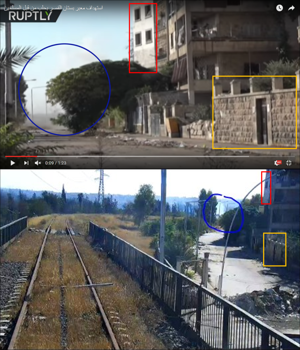 Figure 9 — The same or two different smoke plumes seen in the west-side of the Kher Eddin Al-Assadi street. (Courtesy images: RT (above); Russian MoD (below))