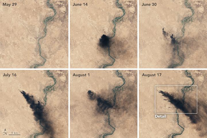 NASA Earth Observatory images by Joshua Stevens, using Landsat data from the U.S. Geological Survey. Caption by Pola Lem. Instrument(s): Landsat 8 - OLI