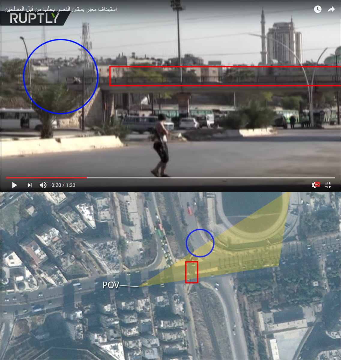 Figure 10 — The approximate location of the second plume of smoke is circled in blue, somewhere down the the west side of the Kher Eddin al-Assadi street.