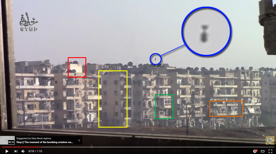 "Figure 7 — An annotated still from the Step News Agency video, showing a ""hell cannon"" round right before impact in the Bustan Az-Zahra district in Aleppo, Syria. (Courtesy: Step News Agency)"
