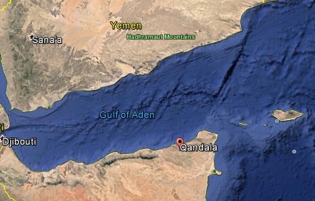 Qandala's strategic location in Somalia (Satellite imagery: Google Earth)