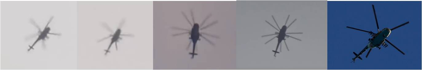 Fig. 8 - Comparison of helicopters. From left: Video 1, Video 2, Video 3, Video 4, Stock photo of Mi-17 for comparison.