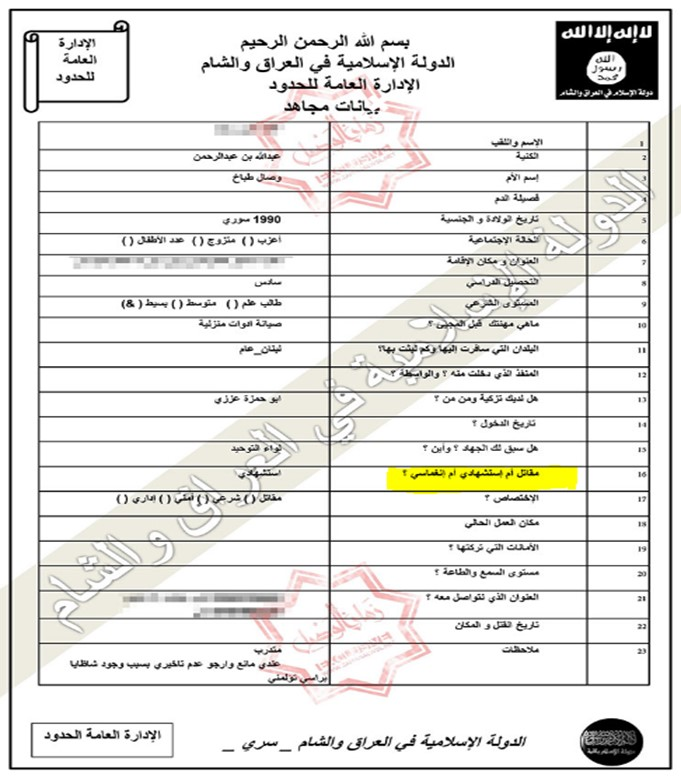 ISIS document featuring Inghimasi as a fighting category