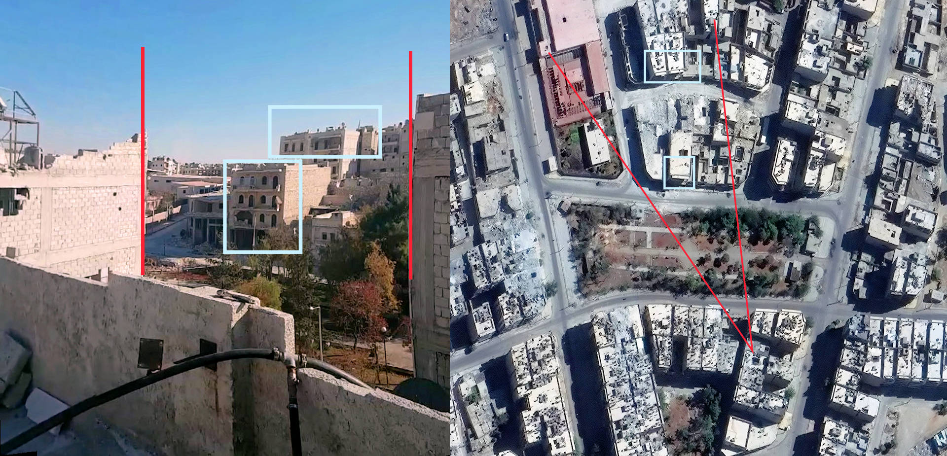 Image 4: Geolocation of Bana's house using a still from a Periscope video