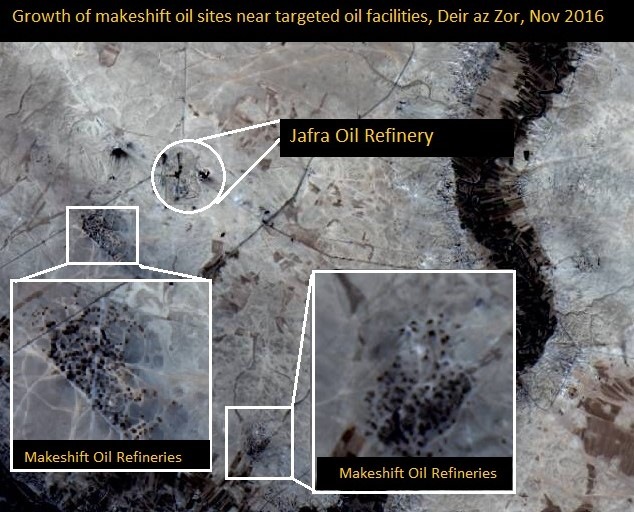 Overview Omar oil field with makeshift refineries. Image from Landsat 8, NASA, Nov 6, 2016