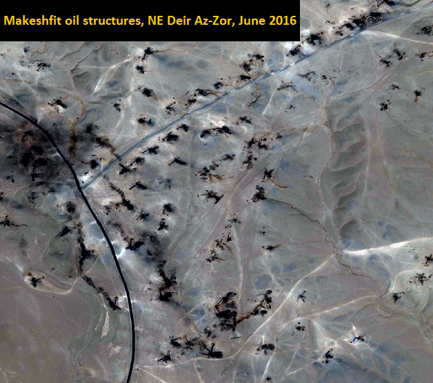 Active makeshift oil structures, June 2016, Deir az Zor. Image by Digital Globe, with courtesy to UNOSAT