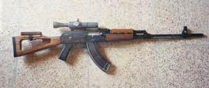 A clear shot of a Tabuk sniper rifle