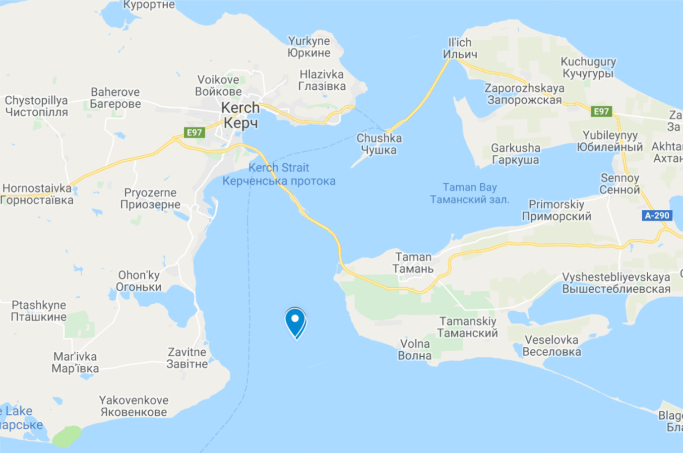 Image 7: Locations of the bulk carrier 'Aviona' on the 25th of November