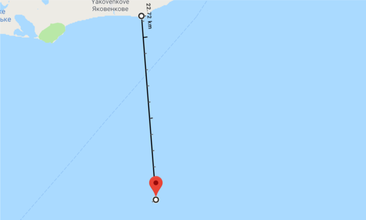 Image 8: Distance between the location where the 'Berdyansk' came under fire according to the FSB, and the coastline of Crimea.
