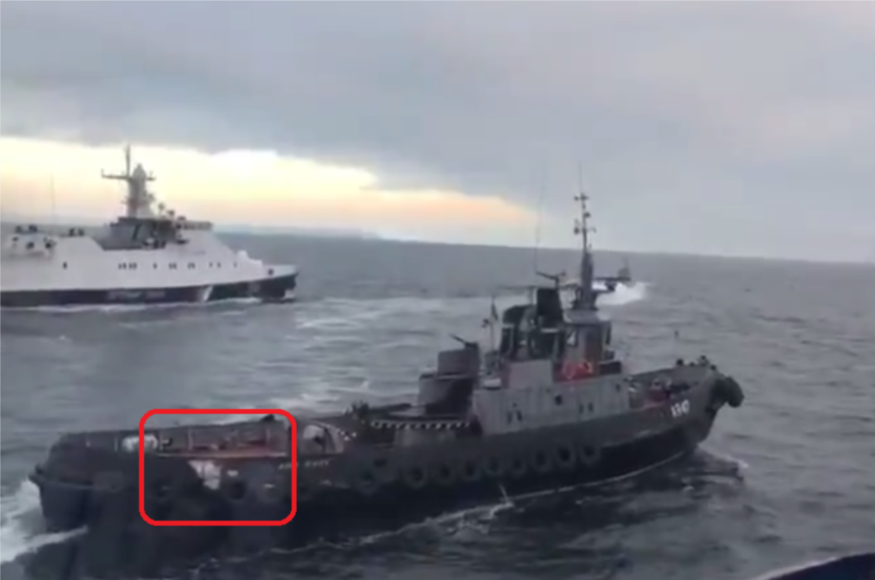 Image 2: Damage sustained to the starboard stern of the 'Yani Kapu'. (screenshot from ramming video)
