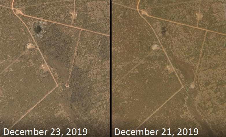 Burned area at the Unity oil spill, satellite imagery by Planet Labs
