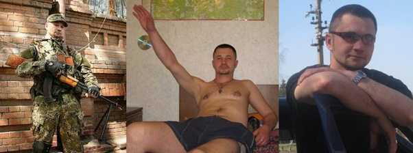 Edvard Pitersky in Eastern Ukraine (L) and two photos of Edvard Matishin from his Vkontakte profile.