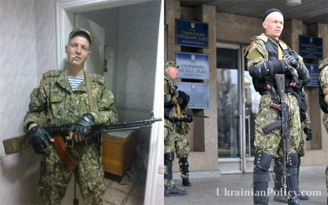 Photo from Evgen Zloy's social media page (L) and outside seized buildings in Slovyansk (R)