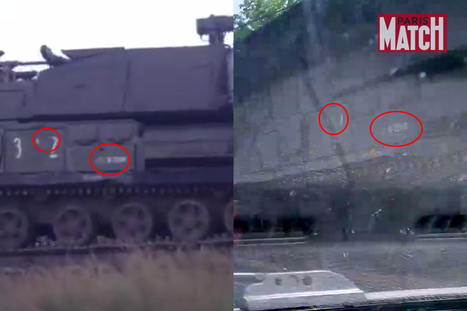 On the left: the Buk in a column of Russian military vehicles seen on the evening on the 23rd of June on the motorway from Staryy Oskol to the OEMK steel works in the Belgorod area.  Source. On the Right: Image from Paris Match. Source