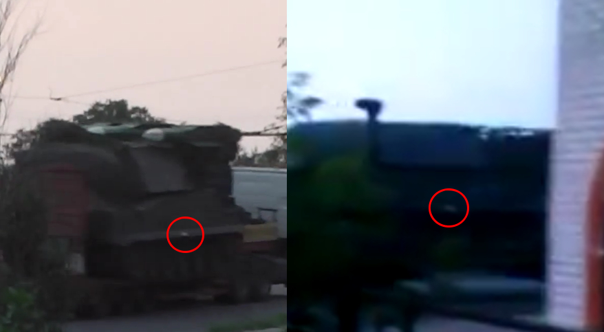 On the left: an image from a video widely spread in the wake of the MH17 tragedy. [Source]. On the right: another unpublicised video from around Staryy Oskol uploaded on the 23rd of June. [Source].