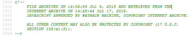 Wayback Archive Date Time Stamp