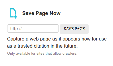 Wayback Archive Save Page