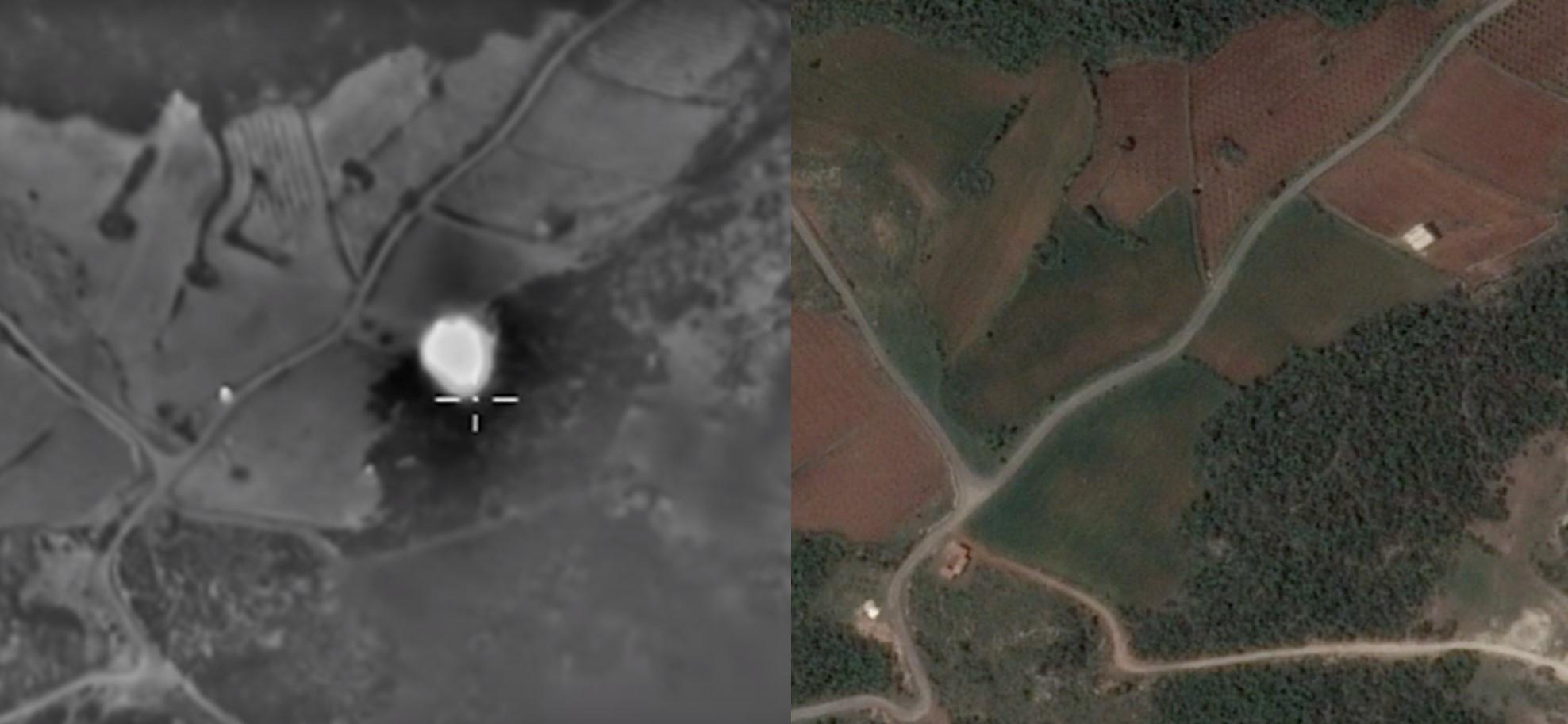 Пример геолокации авиаудара (подробнее см. здесь)