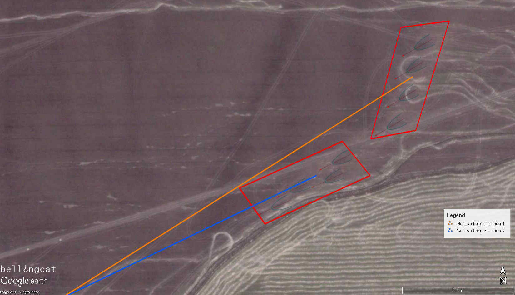 Trajectories analyzed from the direction of the burn marks