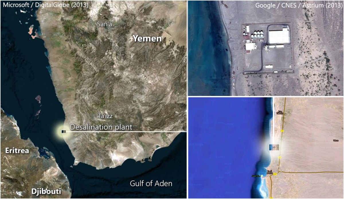 Overview image of the location of the Mocha desalination plant.
