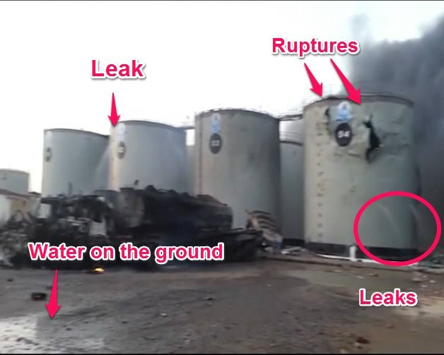 Still from the video shows that liquid pours out of tank 02 and tank 04.