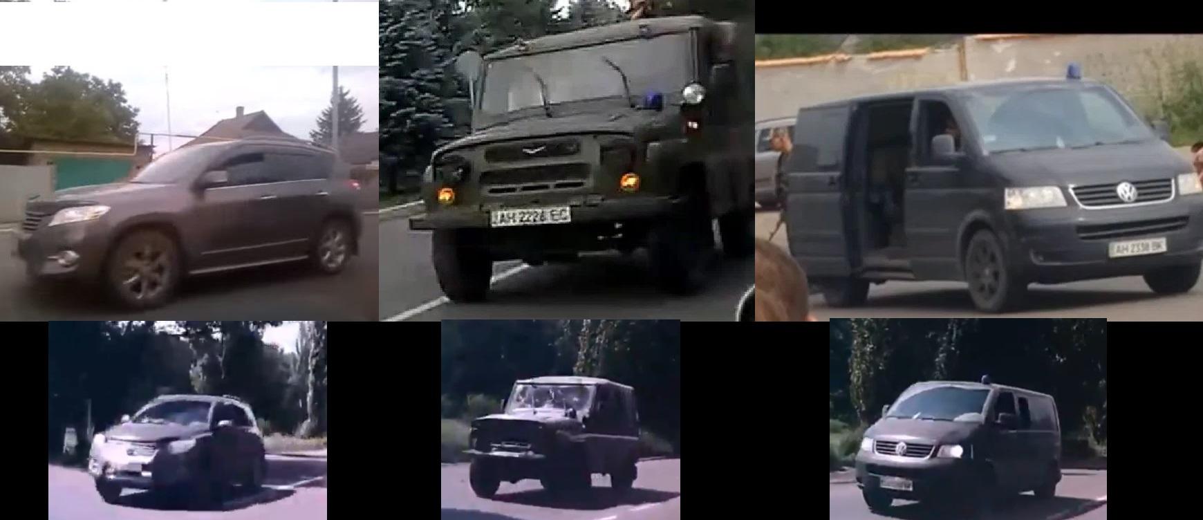 Сравнение машин с видео 15 июля (вверху) и 17 июля в Макеевке на востоке Украины (внизу).