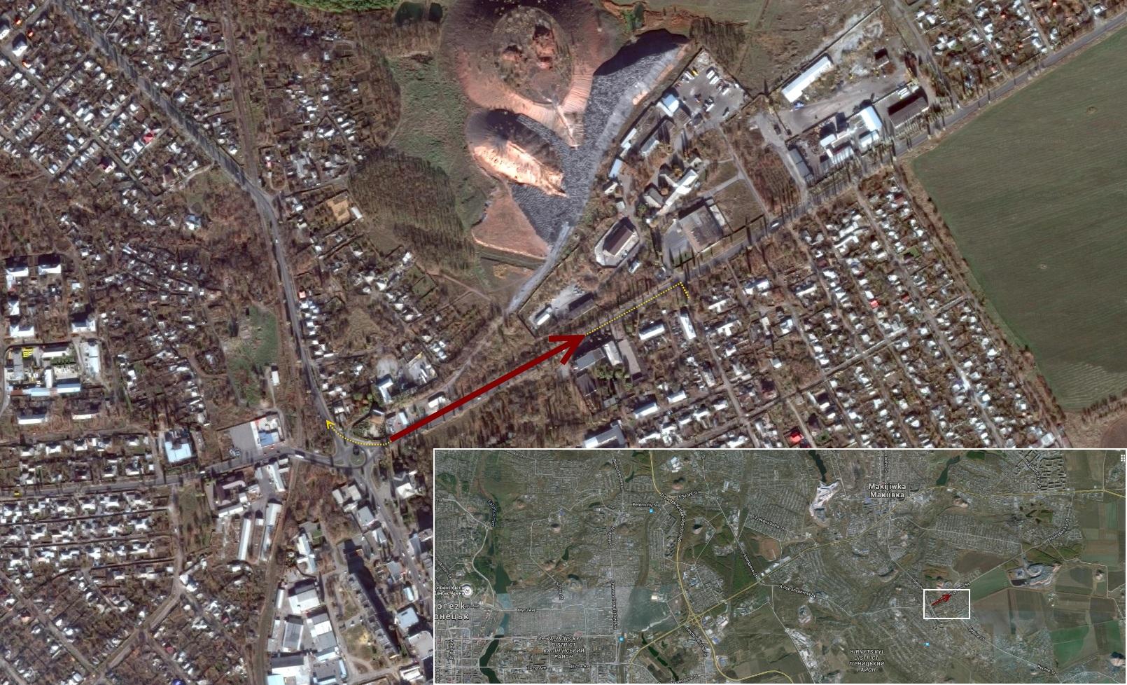 Крупная карта положения колонны и направления движения, а также маршрут колонны на более общей карте (внизу)