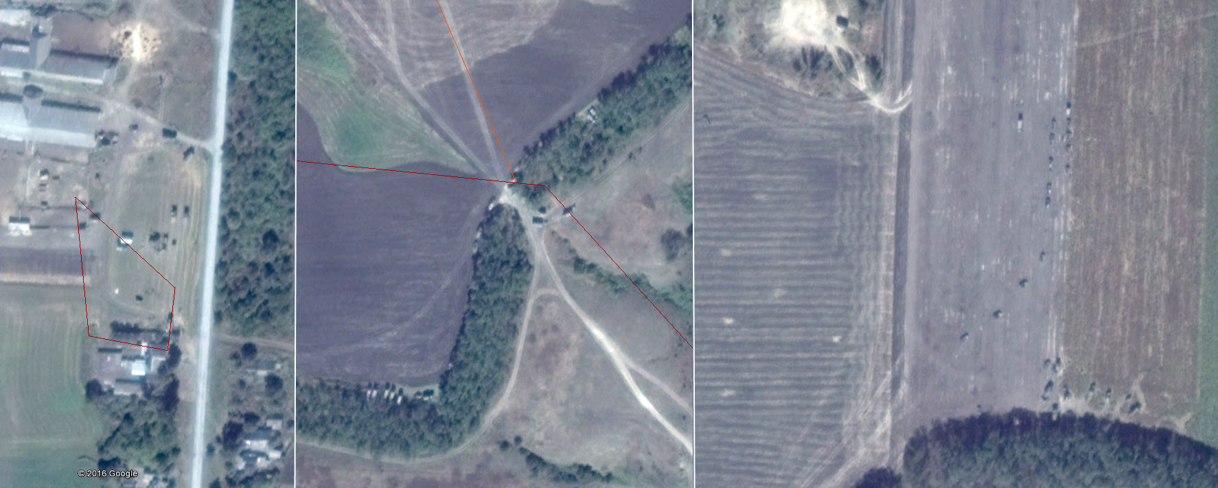 Military vehicles inside of Russia near a border crossing point.