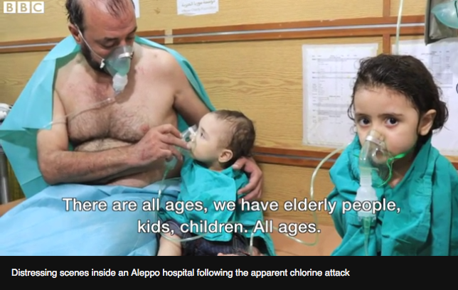 Photo from BBC which shows a girl being treated
