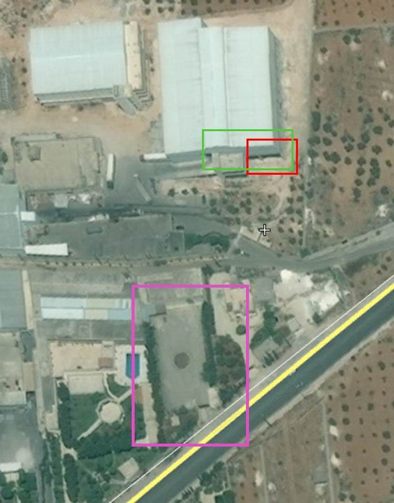 Fig. 15: Birds-eye view of the location of the incident. It uses the same markings as Fig. 14