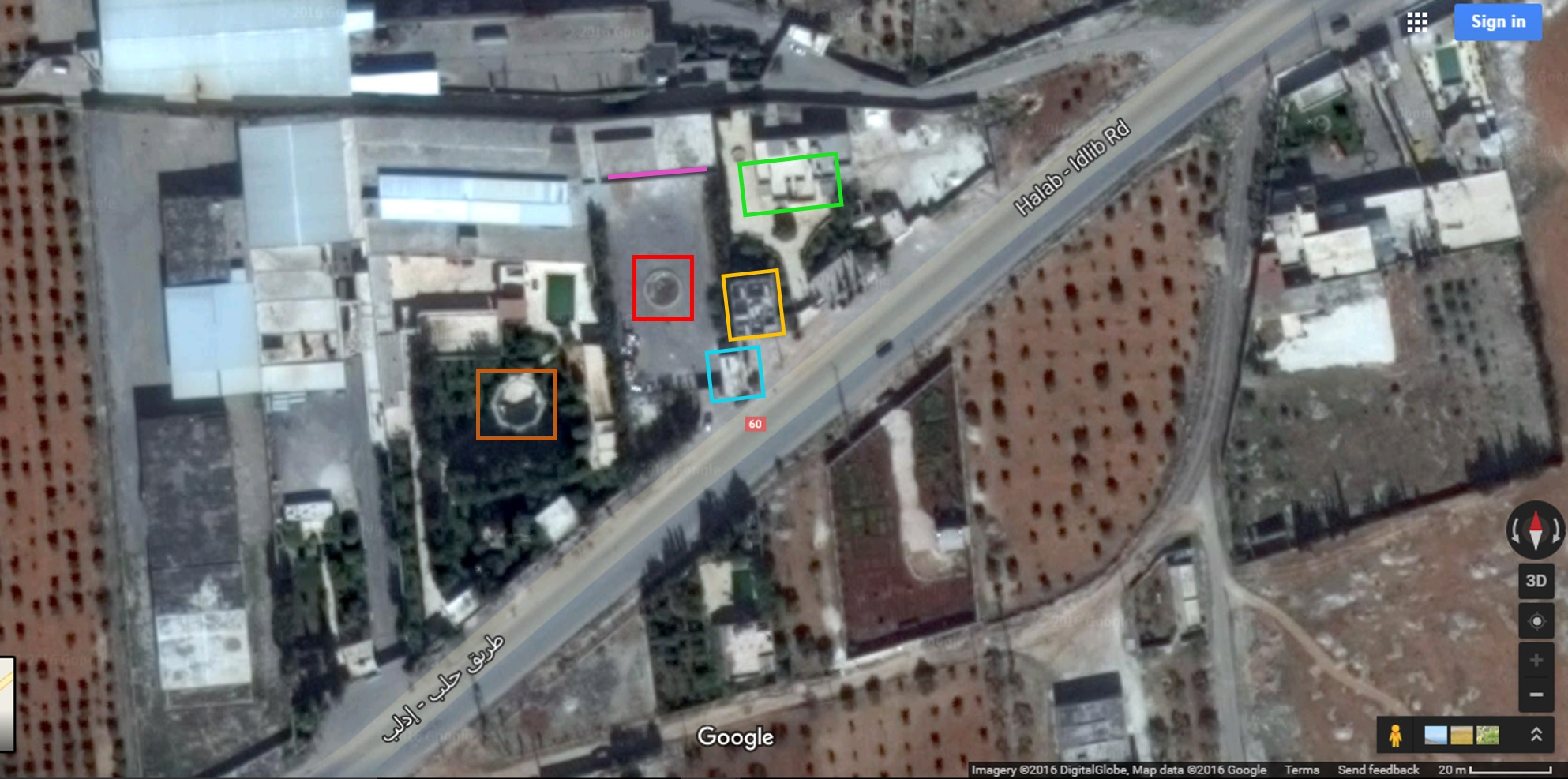 Fig 2 - Close up of warehouse complex - Highway 60 runs from bottom left to top right