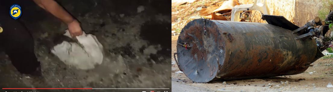 Fig 8a - Conflict Intelligence Team Comparison of debris shown in Fig. 7 and unexploded barrel bomb from Hama province.