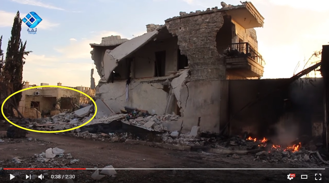 Fig 9 - Heavy damage to building. Yellow circle shows destroyed wall