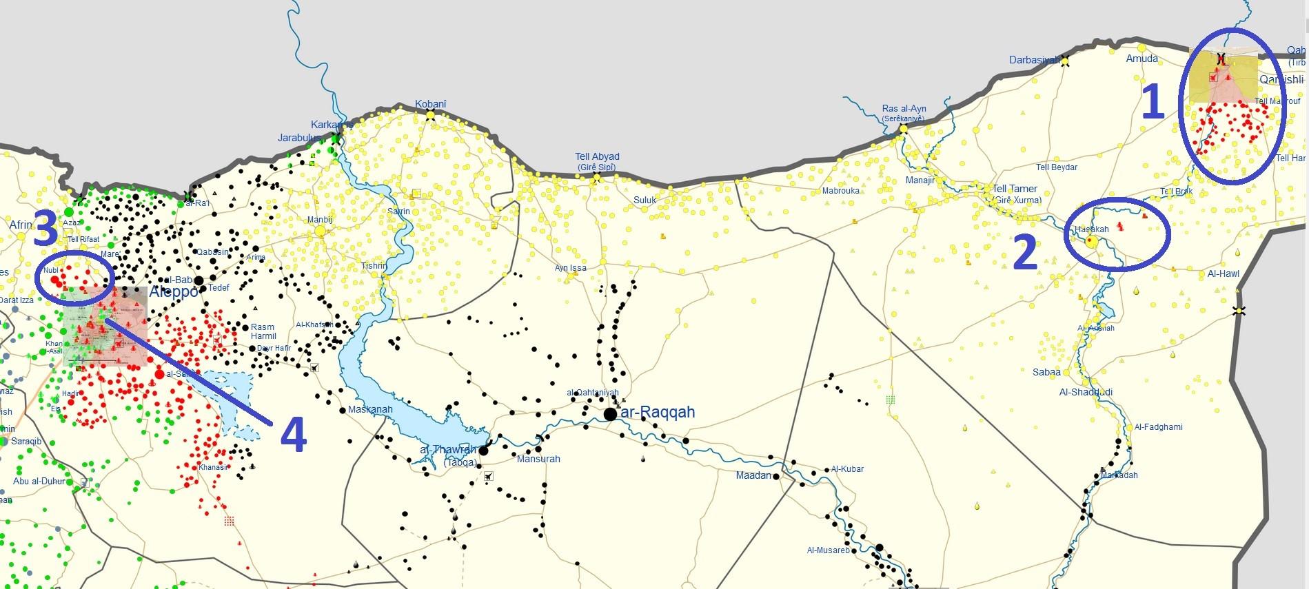 Qamishli region (1), Hasakah region (2), Aleppo countryside/Canton Afrin (3), Western Aleppo city/Sheikh Maqsood (4).