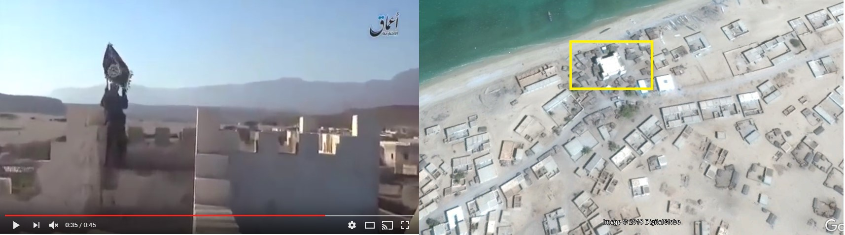 An ISIS fighter waving a banner over Qandala's Italian colonial fort. (Satellite imagery: Google Earth)