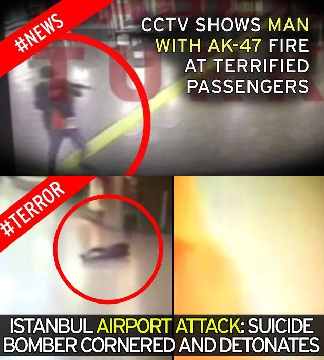 CCTV Images from the Istanbul Airport Attack – Firearms, then vest detonation.