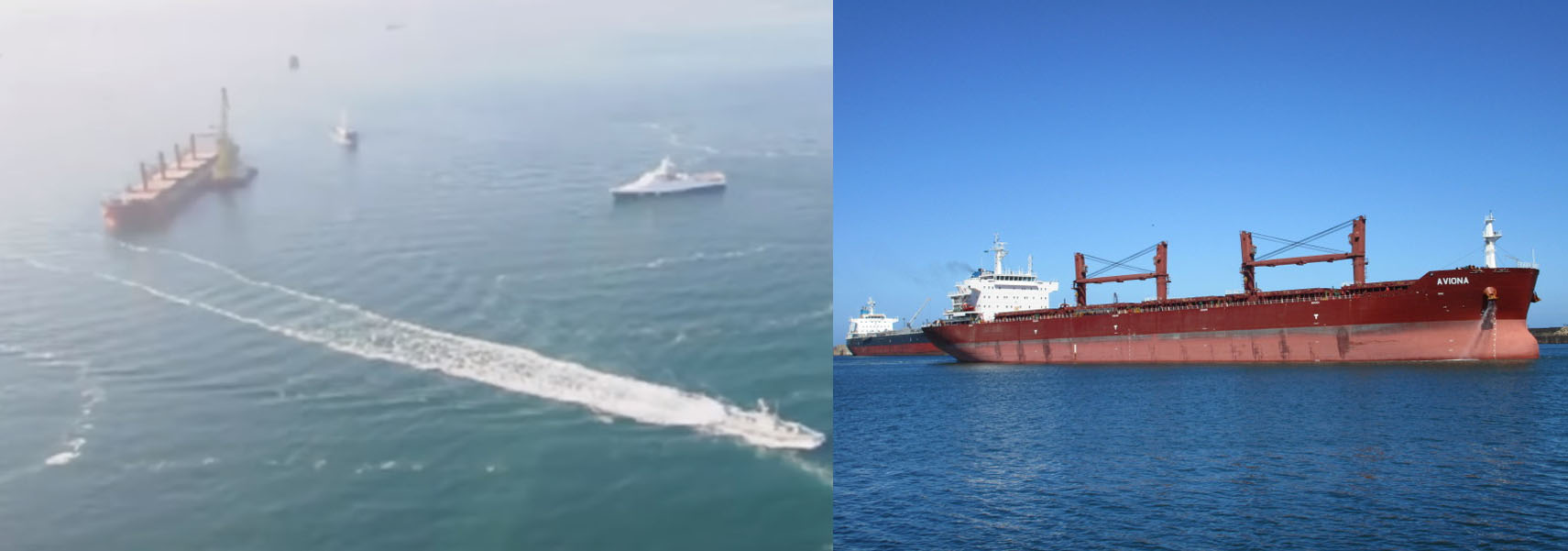 Image 6: Comparison of the large red ship in Zvezda footage and an image of the bulk carrier 'Aviona'