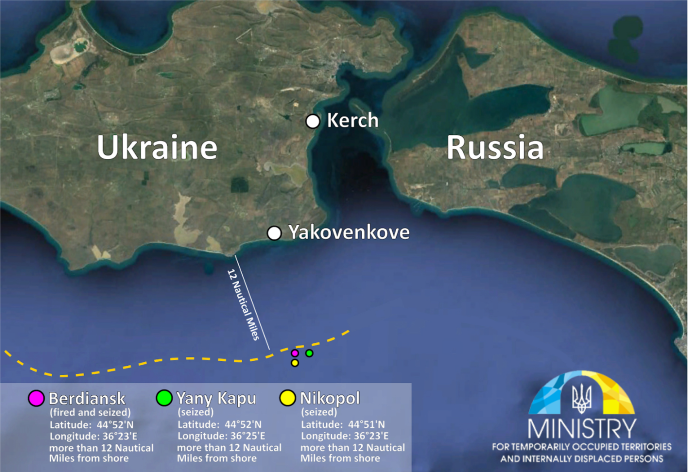 Image 9: Ukrainian release showing the locations of the capture of the three ships.